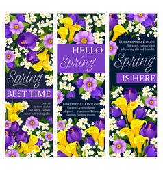 Springtime floral flowers bunch banners vector