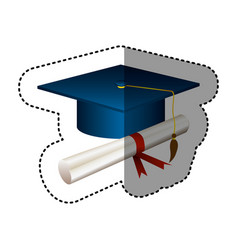 sticker silhouette graduation cap with certificate vector image