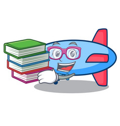 Student with book zeppelin mascot cartoon style vector