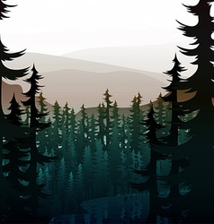 Summer landscape of nature mountain forest and vector