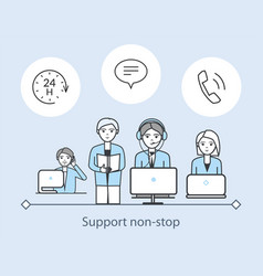 Support non stop poster service workers vector