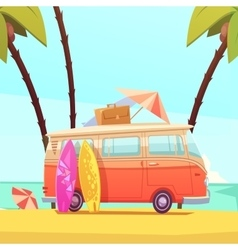 Surfing And Bus Retro Cartoon vector