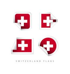 switzerland label flags template design vector image