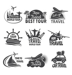travel labels set with airplane vector image