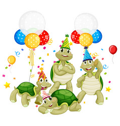 turtle group in party theme cartoon character on vector image