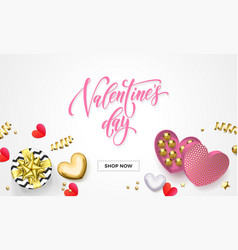 Valentines day sale web banner for shopping vector