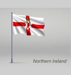 Waving flag northern ireland - territory of vector
