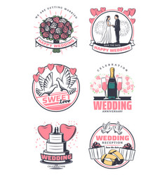 wedding celebration vintage symbol design vector image