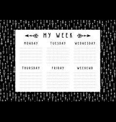 weekly planner in boho style with arrows vector image