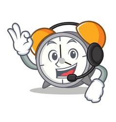 With headphone alarm clock mascot cartoon vector