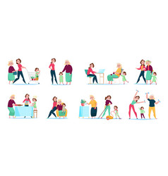 women family generations set vector image