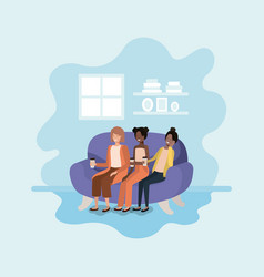 women sitting on sofa with coffee avatar character vector image