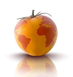 Yellow tomato with planet earth vector