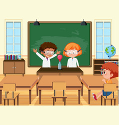 young student doing science experiment vector image