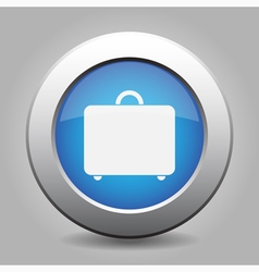 blue metal button with luggage vector image vector image