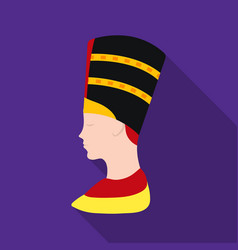 bust of nefertiti icon in flat style isolated on vector image