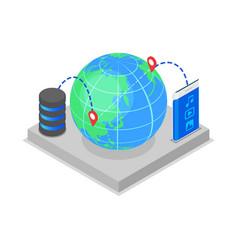 Global data storage isometric 3d icon vector