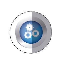sticker color circular emblem with pinions set vector image vector image