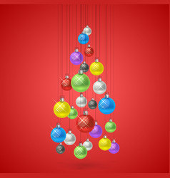 christmas balls hanging in a tree vector image