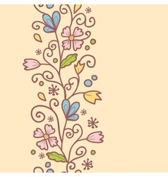 Flowers and leaves vertical seamless pattern vector image vector image