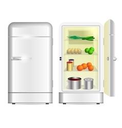 Front view of a retro refrigerator vector image vector image