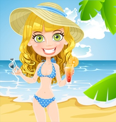 Girl on the beach with a cocktail and sunglasses vector image vector image