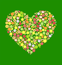 heart from round fruits decoration vector image vector image