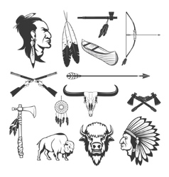 Indian icons native americans american indians vector