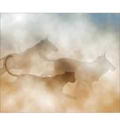 Lioness hunting wildebeest vector image