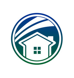 simple blue circle house swoosh vector image
