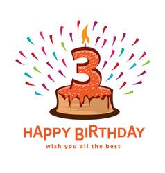 third birthday vector image