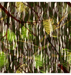 Camouflage seamless pattern with realistic leaves vector