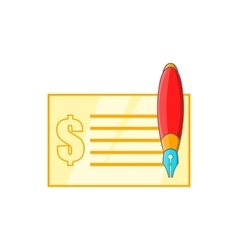 Check and pen icon in cartoon style vector image