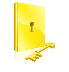 gold locked book key concept vector image vector image