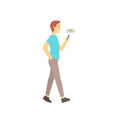 man walking and sending message on his phone vector image vector image
