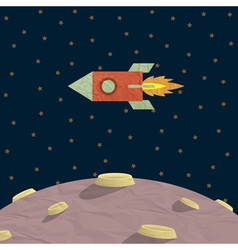 Papercraft rocket and planet vector image