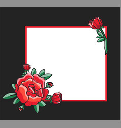 photo frame design with drawn red roses vector image vector image