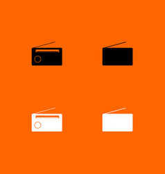 radio black and white set icon vector image vector image