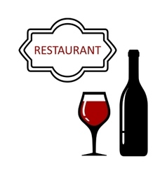 restaurant signboard with glass and bottle vector image