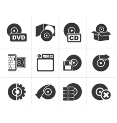 Silhouette Computer Media and disk Icons vector image
