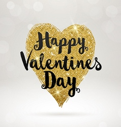 Valentines greeting card with glitter gold heart vector image vector image