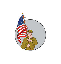 american soldier holding usa flag circle drawing vector image vector image