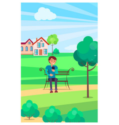 boy sits on bench with smartphone in green park vector image vector image