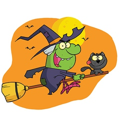 Character Harrison Rode A Broomstick With A Cat vector image vector image