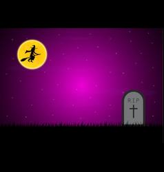 halloween gravestone graveyard witch moon vector image vector image