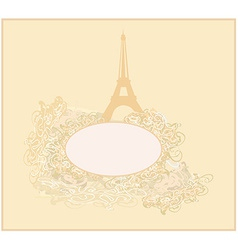 vintage retro Eiffel Tower card vector image