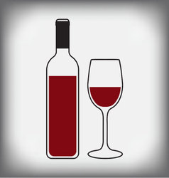 wine bottle with glass vector image