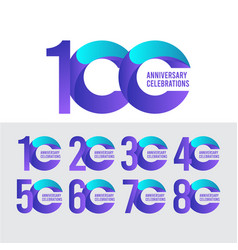 100 years anniversary celebration purple and blue vector