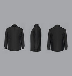 3d black male shirt with long sleeves vector image