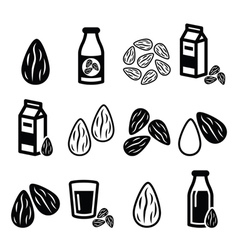 Almonds almond milk icons set vector image